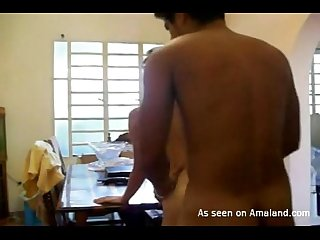 Sexy Indian GF naked on the table
