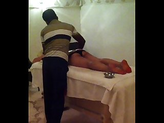 Sexy indian wife taking massage